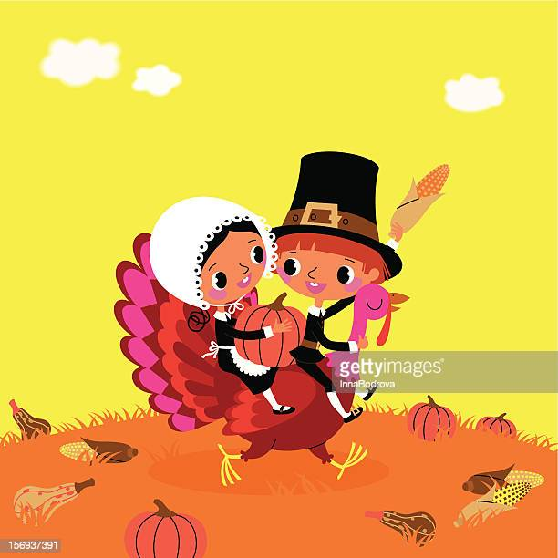 thanksgiving. the piligrims and turkey. - one animal stock illustrations