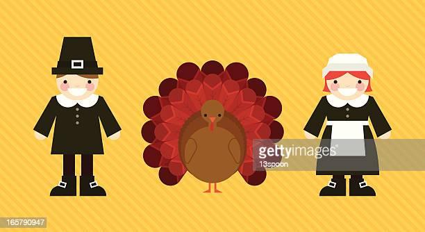 thanksgiving trio - pilgrim stock illustrations, clip art, cartoons, & icons