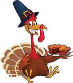 Thanksgiving turkey chief cook serving pumpkin pie. Vector cartoon