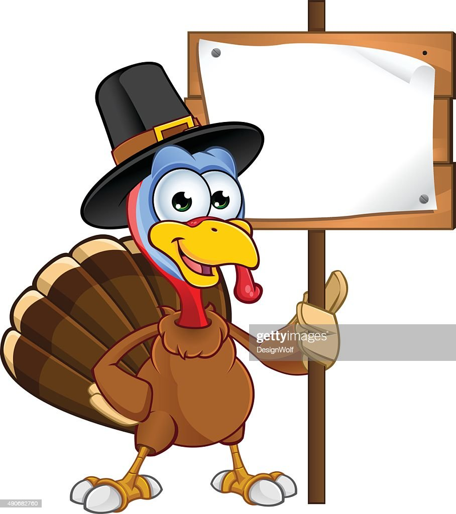 Thanksgiving Turkey - Holding A Sign