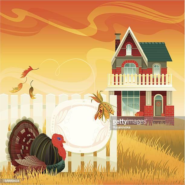 illustrations, cliparts, dessins animés et icônes de la dinde de thanksgiving invitation - devant