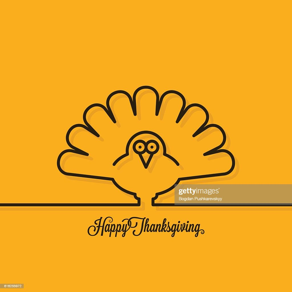Thanksgiving turkey line on yellow background : Arte vetorial