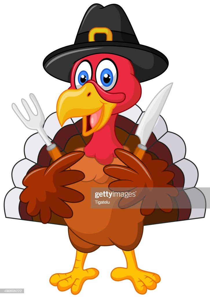 Thanksgiving turkey mascot holding knife and fork