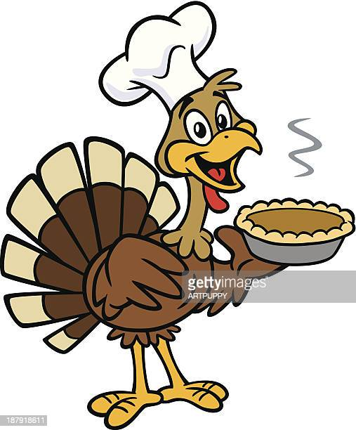 thanksgiving turkey with pumpkin pie - cartoon desserts stock illustrations