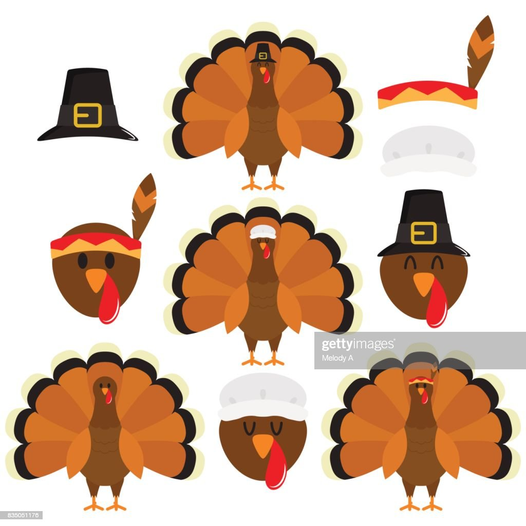 Thanksgiving Turkeys In White Background