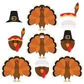 Thanksgiving Turkeys In White Background