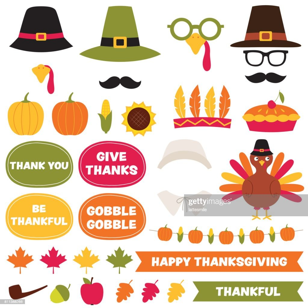 Thanksgiving vector party decoration and photo booth props set
