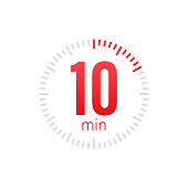 The 10 minutes, stopwatch vector icon. Stopwatch icon in flat style, 10 minutes timer on on color background. Vector stock illustration.