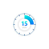 The 15 minutes, stopwatch vector icon, digital timer. clock and watch, timer, countdown symbol. Vector illustration