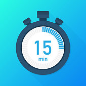 The 15 minutes, stopwatch vector icon. Stopwatch icon in flat style, timer on on color background.  Vector illustration.