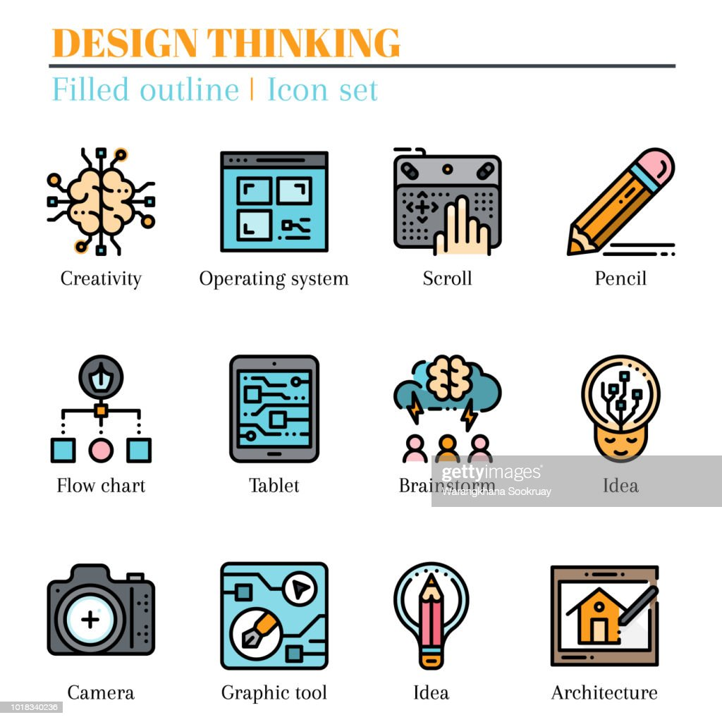 The 3rd design thinking icon set. The icon are filled outline. Illustration