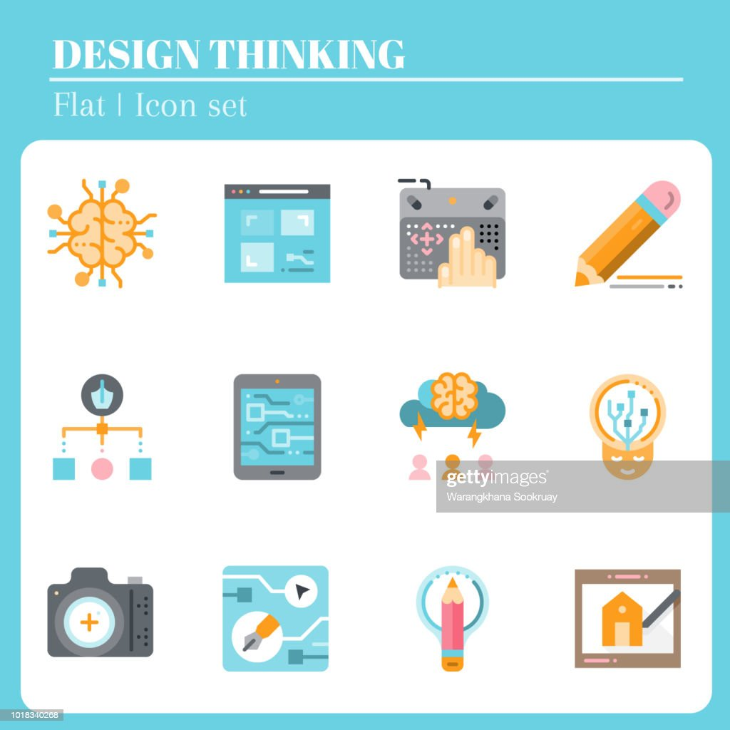 The 3rd design thinking icon set. The icon are flat. Illustration