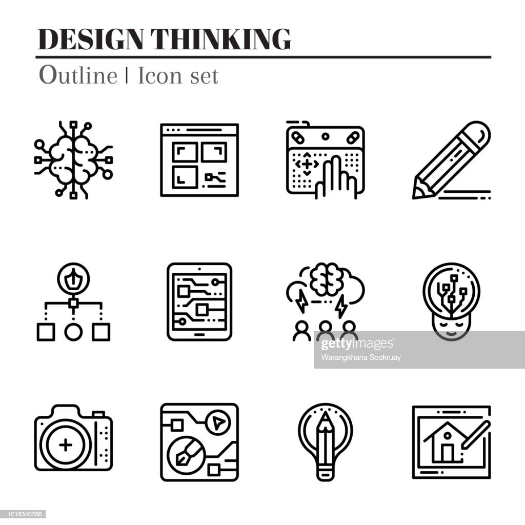 The 3rd design thinking icon set. The icon are outline. Illustration