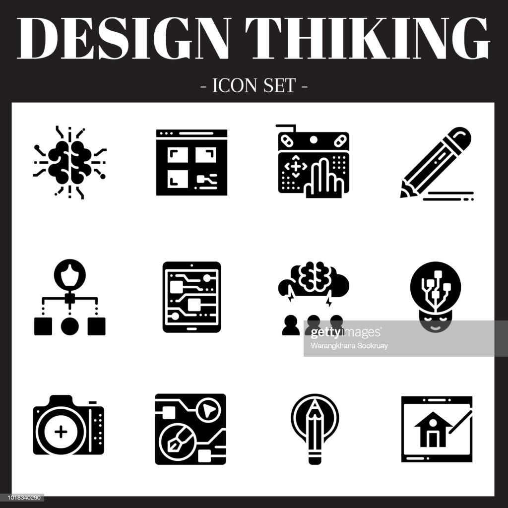 The 3rd design thinking icon set. The icon are solid. Illustration