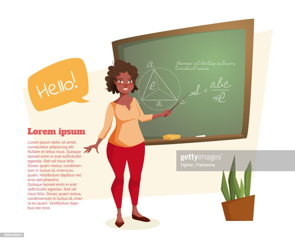 The African American teacher stands at the blackboard with mathematical formulas.