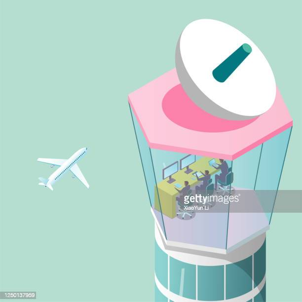 the air traffic control tower, is directing the plane to take off, isometric drawing. - control tower stock illustrations
