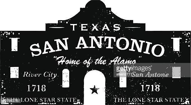 the alamo type stamp - san antonio texas stock illustrations