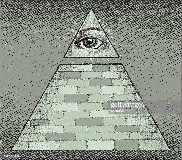 the all seeing eye - conspiracy stock illustrations