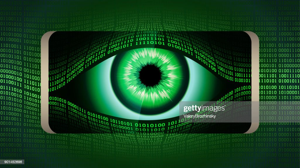 The all-seeing eye of Big brother in your smartphone, concept of permanent global covert surveillance using mobile devices, security of computer systems and networks, privacy : stock illustration