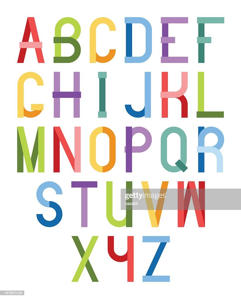 The alphabet in different color fonts