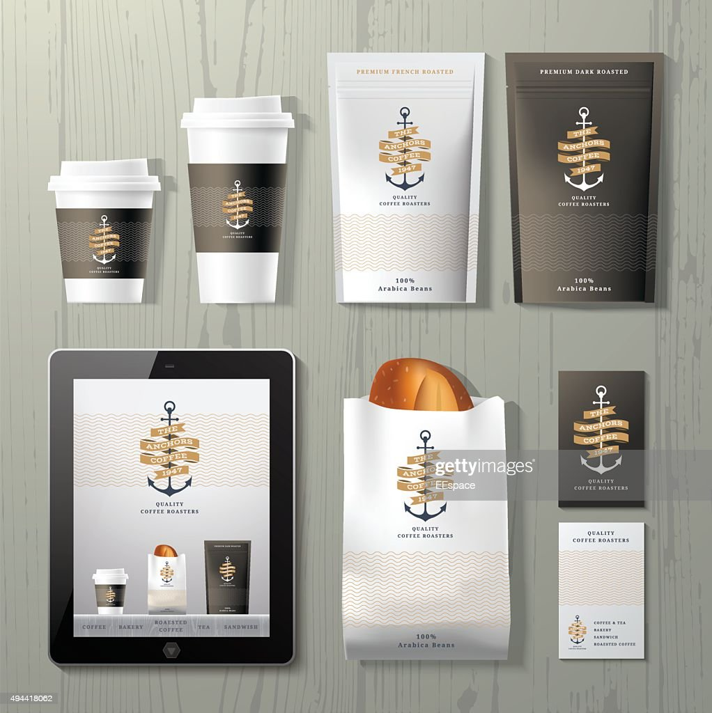 The anchors coffee shop corporate identity template design set