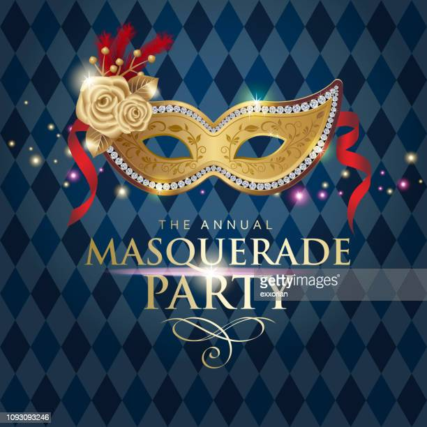 the annual masquerade party - parade stock illustrations