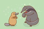 The ant-eater and the platypus are brushing their teeth.