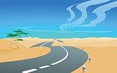 The asphalt road into desert. Poster. Postcard. Background