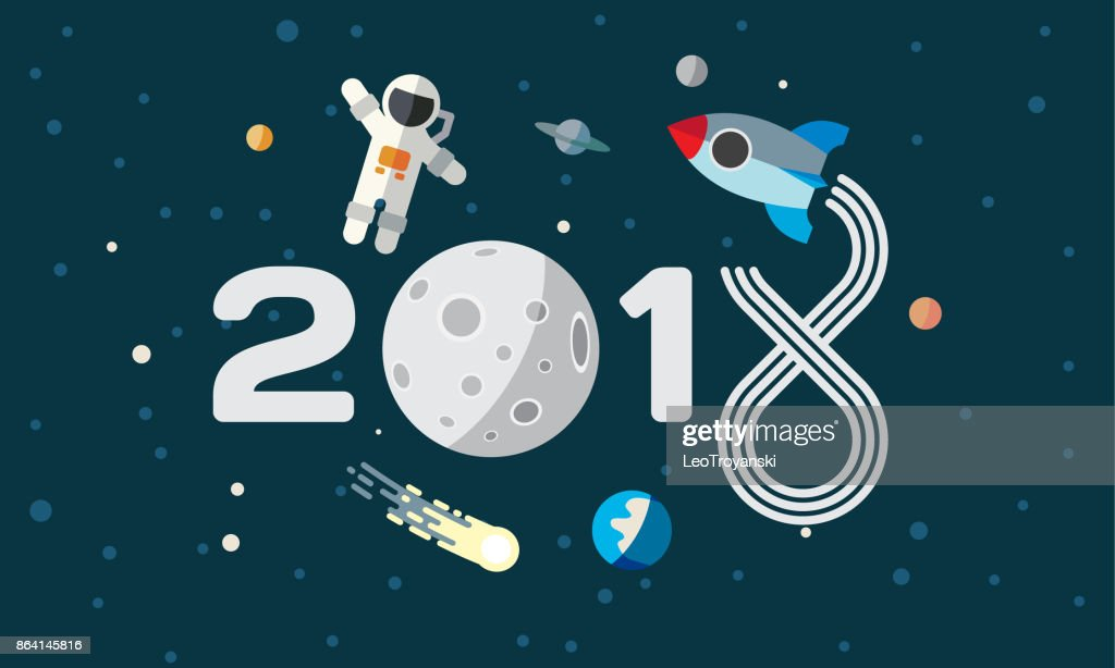 The astronaut and rocket on the moon background. Flat space theme illustration for calendar. 2018 Happy New Year cover, poster, flyer.