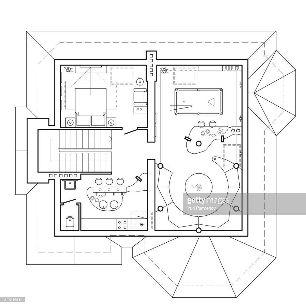 Le Plancher Du Grenier Dans Le Chalet Plan Architectural Dune Maison