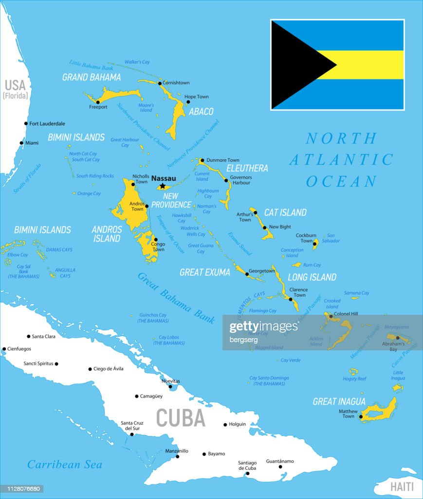 Picture of: The Bahamas Map With National Flag Provinces And Borders High Res Vector Graphic Getty Images