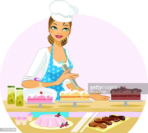 the bakery lady - making a cake stock illustrations, clip art, cartoons, & icons