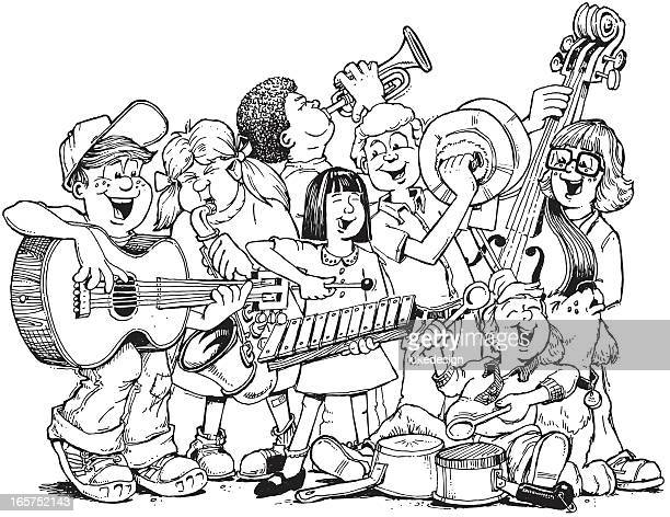 the band - bass instrument stock illustrations, clip art, cartoons, & icons