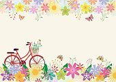 The beautiful of flowers, butterflies and red bike. This image is used for the background picture frame, or using the card, such as birthday cards, or cards of congratulation for your special someone.