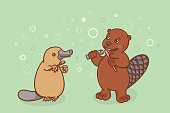 The beaver and the platypus are brushing their teeth.