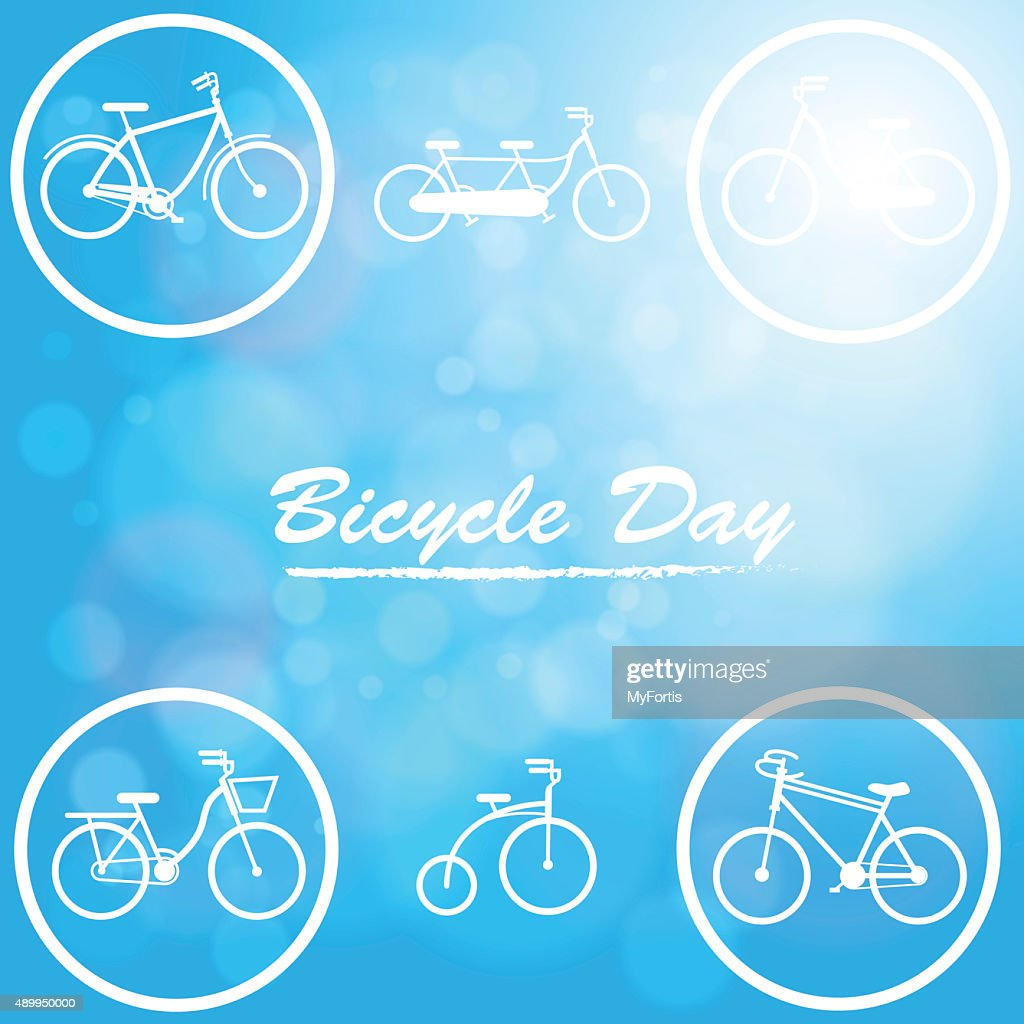 The Bicycle day in natural blue background