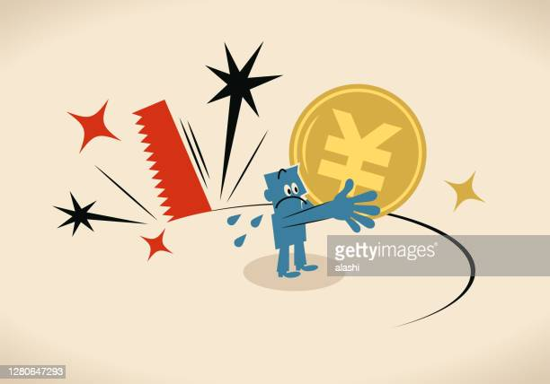 大きなこぎりは、人民元または円記号コイン(中国、台湾または日本の通貨)を保持している青い男の足の下から地面を切断しています。景気後退、切り下げ、経済不況、通貨危機 - 中国元記号点のイラスト素材/クリップアート素材/マンガ素材/アイコン素材