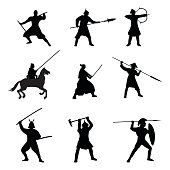 The Big Set of Warriors Silhouette on white background.