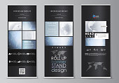 The black colored vector illustration of the editable layout of roll up banner stands, vertical flyers, flags design business templates. Abstract futuristic network shapes. High tech background