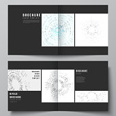 The black colored vector layout of two cover templates for square design bifold brochure, flyer, booklet. Network connection concept with connecting lines and dots. Technology design digitalbackground