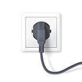 The black plug is plugged into the power lines. Plug inserted in a white wall socket. Icon of device for connecting electrical equipment. 3D illustration isolated on white background
