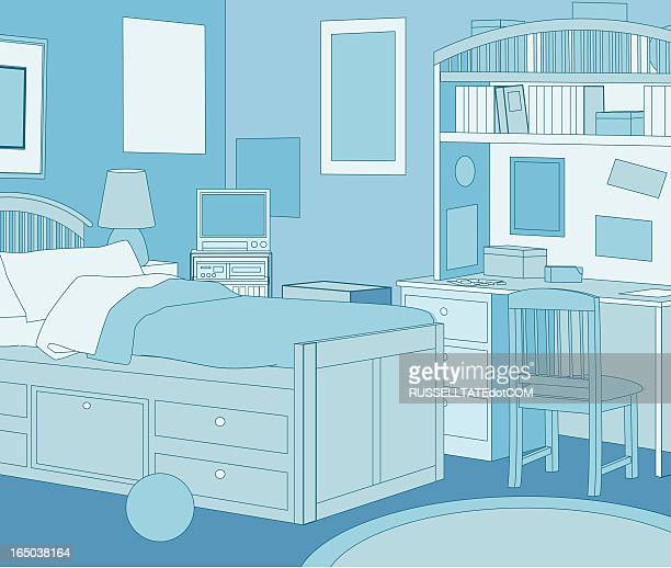 the blue room - bedroom stock illustrations, clip art, cartoons, & icons