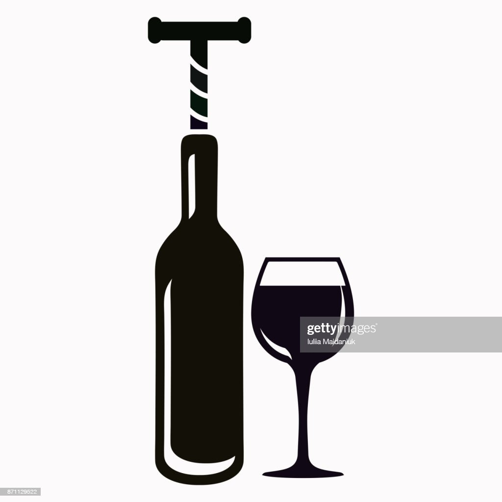 The bottle with the corkscrew and wineglass
