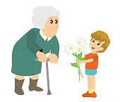 the boy gives grandma Daisy flowers cartoon illustration