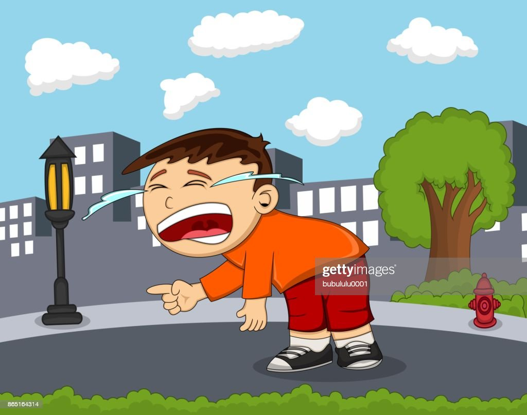 The boy is Crying on the road with city background cartoon