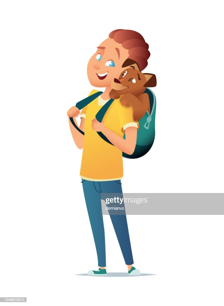 The boy is standing with a backpack on his back, in his backpack is a dog. Friendship of child and dog. Vector illustration.