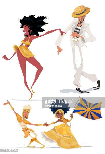 the brazilian carnival - samba stock illustrations