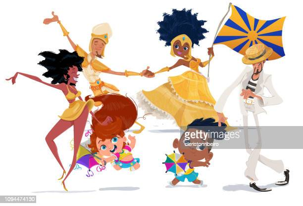 illustrazioni stock, clip art, cartoni animati e icone di tendenza di the brazilian carnival - samba