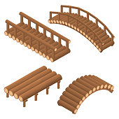 The bridge of wooden logs. Arched and straight.