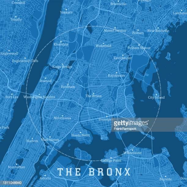 the bronx ny city vector road map blue text - bronx stock illustrations